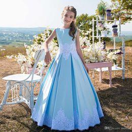 $enCountryForm.capitalKeyWord Australia - Lovely Blue A Line Floor Length Kid Birthday Dresses Jewel Neck Sleeveless Lace Appliques Satin Baby Girls Prom Gown for Wedding