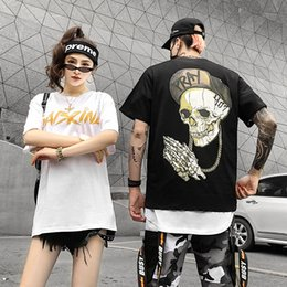 $enCountryForm.capitalKeyWord NZ - White Round Collar Head Shirt Hip Hop Style 2019 Summer T-shirt Streetwear Harajuku Tshirt Short Sleeve Tops Tees Cotton