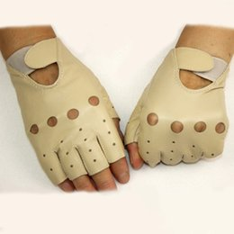 Hollow Fingers Australia - Leather fingerless gloves Women's short style hollow spring and summer riding sports car thin semi-finger sheepskin gloves
