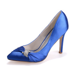 fuchsia rhinestone shoes UK - Chic Designer High Heels Rhinestone Crystal Pointed Toe Women Stiletto Heel Pumps Heels Heel Height 9.8 cm Pu Wedding Dress Shoes 35-42
