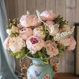 Big flowers peonies online shopping - Small fresh Artificial Silk Peony Bouquets Big Flowers for Wedding Party Office Hotel and Home Decoration Branches