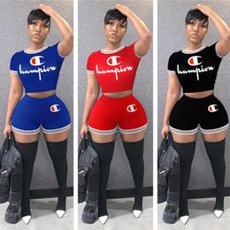 Summer Sportswear Suit Australia - Women Champions Letter Tracksuit Thin Stripe Short Sleeve T shirt + Shorts Pants Summer Outfits 2 Pcs Set Sportswear Gym Clothes suits C3256