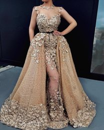 $enCountryForm.capitalKeyWord UK - New Gold Appliqued Beads Evening Dresses With Detachable Train 3D Floral Sexy Illusion Mermaid Prom Gowns Jewel Neckline Formal Party Dress