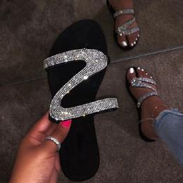 $enCountryForm.capitalKeyWord Australia - Women flat slippers black flip flops sexy rhinestone sandals summer open toe gladiator beach shoes ladies slides big size