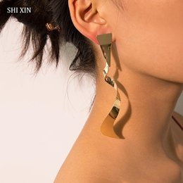 unique silver jewelry Canada - SHIXIN Punk Long Twisted Earrings for Women Designer Gold Silver Metal Fashion Earrings 2019 Unique Drop Jewelry Female
