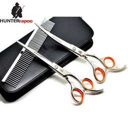 Dogs Hair Cuts Australia - HT9155 7inch professional pet hair cutting and curved scissors set home hairdressing using for cat dog