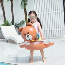 Inflatable Animals Water Toys NZ - Baby Swimming Ring Kids PVC Kani Rabbit Sequined Inflatable Bottom Seat Children Summer Water Fun Pool Toys