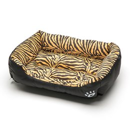 Discount toy tigers Square Pet Bed Tiger Leopard Print 3 Size Soft Dog Bed Warming Puppy Bed House Soft Material Nest Dog Baskets Winter Warm Kennel 201225