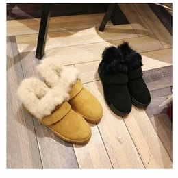 Fur Head Warmer Australia - New Style Woman Round Head Comfortable Warm Short Boots Ladies Sheep Fur One Rabbit Fur Shoes Bbuckle Furry Shoes Flat Shallow Mouth Boots