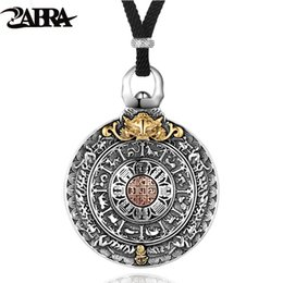 $enCountryForm.capitalKeyWord UK - Zabra Religion Authentic 925 Sterling Silver Round Necklace Pendant Men Chinese Zodiac Signs Vintage Pendants Jewelry For Male J190712