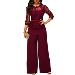 $enCountryForm.capitalKeyWord UK - New Casual Elegant Lace Women Jumpsuits Wide Leg Long Sleeve Hollow Out Slim Work Office Rompers Macacao