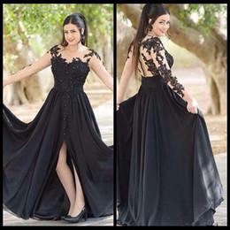 $enCountryForm.capitalKeyWord Australia - Sexy Sheer Neck Black Lace Evening Dresses A Line Illusion Long Sleeve Appliques Split Slit Chiffon Formal Prom Dress Party Gowns