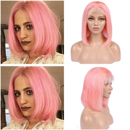 peruvian straight short wig NZ - Peruvian Pink Colored Human Hair Full Lace Wigs Straight Short Bob Wigs Rose Gold Lace Front Wigs For Women 130 Density Bleached Knots