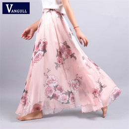 d36018431 2018 Summer New Fashion Vintage Bohemia Chiffon Floral Printed Women Boho  Floor-length Long Maxi Beach Party Loose Flare Skirt J190427