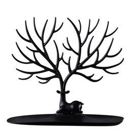 tree jewelry holders UK - Little Deer Earrings Necklace Ring Pendant Bracelet Jewelry Display Stand Tray Tree Storage Racks Organizer Holder White Black Color