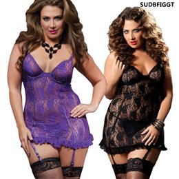 hot women see through shirt NZ - Plus size Women sexy lingerie HOT sex lace slips ladies see-through nightdress Garter