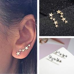 $enCountryForm.capitalKeyWord NZ - Tiny Cute Stud Earrings Fashion Golden Silver Color Star Design Ear Jewelry Crystal Earrings Gift For Friend Wholesale