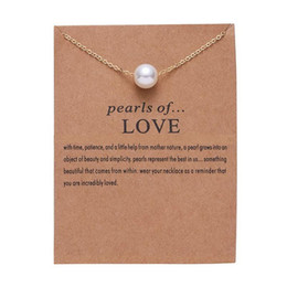 $enCountryForm.capitalKeyWord Canada - New imitation pearl of love Pendant Necklaces Clavicle Chains necklace Fashion women Jewelry with card Free Shipping
