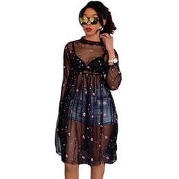 cd9329c8e52c9a 3 Fotos Kleider schwarze ärmel transparent im Angebot-Sexy Frauen Sheer  Mesh Kleid Blumenstickerei Durchsichtige Lange Eine