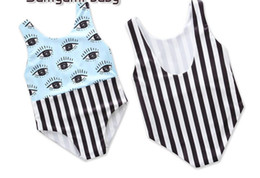 cute girls baby model UK - 2019 kids clothes girl one -piece explosion models summer baby girls cute eyes striped jumpsuit swimsuit 18701