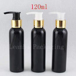 shampoo bottle gold Australia - 120ml Empty Cosmetic Black Container With Gold Lotion Pump , 4oz Spray Lotion Cream Pump Travel Bottles Plastic Bottle Shampoo