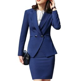 Discount formal business skirts - Temperament business Skirt suits set women formal slim Long sleeve blazer and skirt office ladies plus size Interview wo