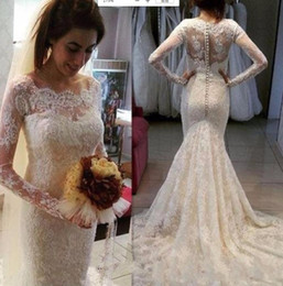 empire style wedding gowns NZ - Sexy Full Lace Wedding Dresses with Illusion Long Sleeves Chapel Train country Style Beaded Applique Plus Size Bridal Gowns