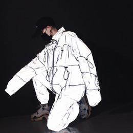 $enCountryForm.capitalKeyWord Australia - Men 3M Reflective Jacket Sets (jacket+pant) Male Women Streetwear Hip Hop Casual Windbreaker Coat DJ Stage Show Clothing