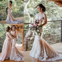 $enCountryForm.capitalKeyWord Australia - Champagne Mermaid Country Wedding Dresses 2020 Lace Floral Sheer Jewel Neck Short Sleeve Woodland Boho Trumpet Bride Wedding Gown