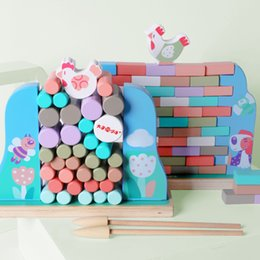 Wholesale Wooden Hens Wall Stacking High Push Wall Pumping Children's Educational Toys Board Games Parent-child Interactive Blocks