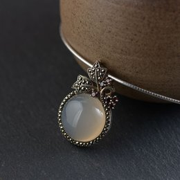 thai 925 necklace Canada - wholesale Flower Pendant 925 Silver New Round Chalcedony Stone Pure Original S925 Thai Silver Pendants Women for Jewelry Making
