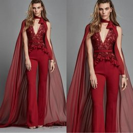 jumpsuits side zippers 2019 - Zuhair Murad Red Evening Dresses 2019 With Wrap Deep V Neck Lace Appliques Jumpsuits Prom Dress Chiffon Party Gowns Pant