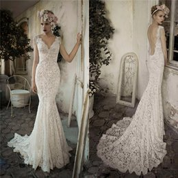 Country Elegant Wedding Dresses Australia - 2019 Elegant Julie Vino Mermaid Wedding Dress Full Lace V Neck Sexy Backless Champagne Cap Sleeve Plus Size Vintage Country Bridal Gown