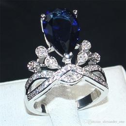 Pear Shape Rings Australia - Fashion Jewelry 925 Sterling Silver crown Delicate Pear-Shaped Blue Sapphire Water-Drop gemstone wedding ring finger for Women size 5-11