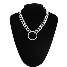 $enCountryForm.capitalKeyWord Australia - Statement chunky chain choker necklace punk goth Grunge Silver metal Fashion Necklace women men trendy jewelry
