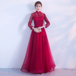 9cfc2e87c6 2018 Chinese Traditional Spring and Autumn Long Sleeve Capped Lace  Embroidery Red Cheongsam Dress for New Slim Bride Evening Banquet