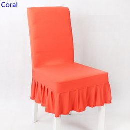 wedding chair wholesale Canada - Coral colour lycra chair cover with skirt all around the chair half style spandex cover wedding party home decoration