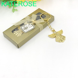 wholesale communion gifts UK - 50PCS Gold Angel Key Chain in Gift Box Wedding Favors Golden Keychains Baby Baptism Christening First Communion Giveaways FREE SHIPPING