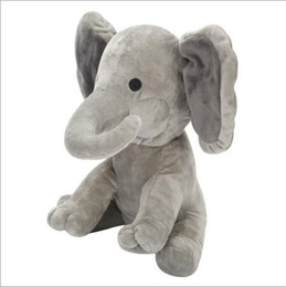 moving dolls toys UK - Plush Elephant Dog Doll Toy Play Hide And Seek Baby Elephant Toy Ears Flaping Move Hide Seek elephant toy 23cm
