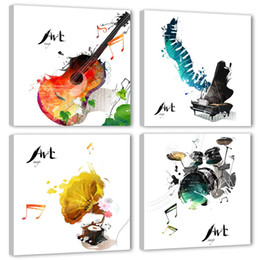 Paintings Guitars Wall Australia - 4 Pieces Canvas Wall Art Guitar Piano phonograph and Drum Set Classical Music Instruments Picture Music Painting for Home Decor
