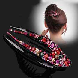 Wholesale Duckbill Hair Clips Australia - 1 Pc Korean Crystal Hairpin for Women Hairclip Top Side Clip Rhinestone Duckbill Clip Hair Jewelry Girls Hair Accessories 4 Type