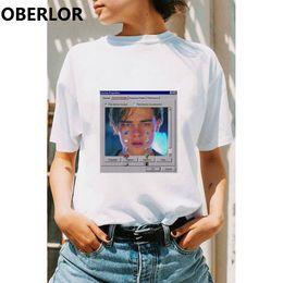TiTanic cloThing online shopping - Women Clothes Leonardo Di Caprio Leo Crying Print Tshirt Tumblr Ulzzang Summer T Shirt Titanic Casual Solid Plus Size Tops
