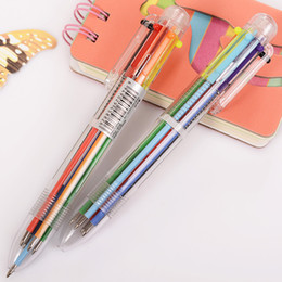$enCountryForm.capitalKeyWord NZ - 6Pcs Korean 6 8 Colored Ballpoint Pen Kpop Novelty Rollerball Multifunction Refill Fun Student Promotion Writing Tool Stationery