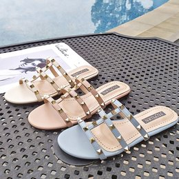 Discount women sexy flip flops - Newest designer slides latest slip-on designer flip flops sandals hollow upper women sandals sexy casual Rivets Gladiato