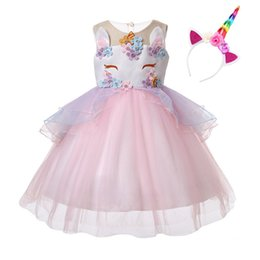 Costume Ball Australia - Unicorn Dress with Headband Kids Party Dresses for Girls Clothes Baby Costume Princess Tutu Dress Children Clothing Ball Gown