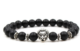fish balls Australia - 8mm gfh432 gold silver ball Frosted agate Onyx nature black stone Lion head Bracelet Reiki Chakra Fashion