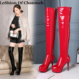 $enCountryForm.capitalKeyWord Australia - Women High Heels Tall Boots Sexy Patent Platform High Heeled Over The Knee Boots For Women Ladies Pole Dancing Size 34-43