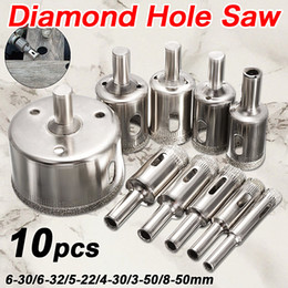 Tile Cutters Australia - 10PCS set 8-50mm Diamond Coated Core Hole Saw Drill Bits Tool Cutter For Tiles Marble Glass Granite Drilling