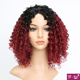 short kinky curly wigs 2019 - Afro Kinky Curly Short Wigs for Black Women Burgundy 16 inch Wine Red Synthetic Burgundy Color Curly Wigs cheap short ki