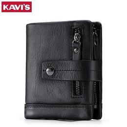 Rfid Print Australia - KAVIS Genuine Leather Wallet Men Small Portomonee Vallet PORTFOLIO MAN Male Coin Purse With Pockets Slim Mini Fashion Rfid Walet #302640